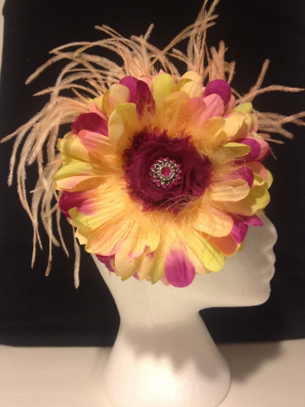 Floral Fascinator Big Flower Headband, Spring Wedding Fascinator, Custom Headband's, All Colors