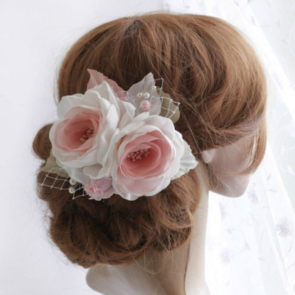 Silk Floral Hair Piece, Blush White Flower Bridal Fascinator Clip, Wedding Piece Roses, Bridesmaid Girl Accessory