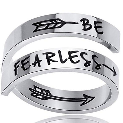 Be Fearless Stainless Steel Ring Adjustable Jewelry Motivation Workout Exercise Girl Woman Sister Wife Mom Teen Party Ring Gift