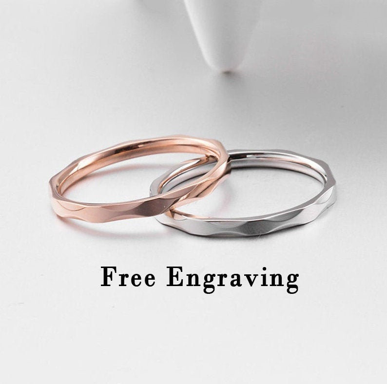2mm Stainless Steel Engraved Matching Sister Rings, Sister Rings For 2