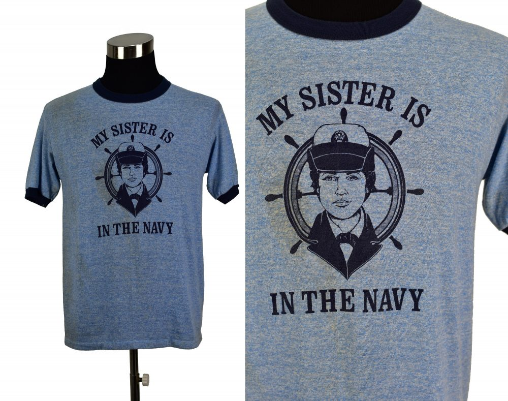 Vintage 70S Navy Sister Ringer T-Shirt Large | M.j. Soffe Tri-Blend Rayon Athletic 1970S Single-stitch Service Armed Forces Us Navy Heather