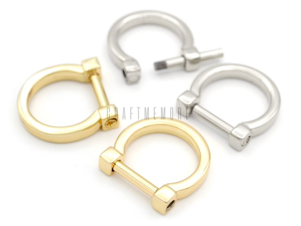 4Pack 1/2Inch Tiny D-Rings With Screw Shackle Horseshoe U Shape D Ring Diy Leather Craft Purse Replacement Accessories Rdt31