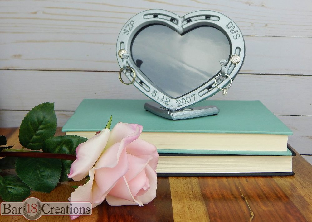 Engraved Ring Holder, Iron Anniversary Gift For Her, Steel Horseshoe Heart Picture Frame
