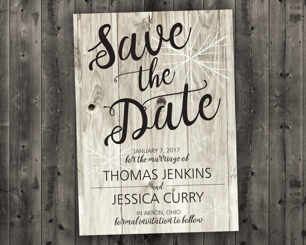 Barn Wood Winter Wedding Save The Date Printed - Snow, White Wood, Rustic, Cheap, Woods, Affordable, December, January, Christmas
