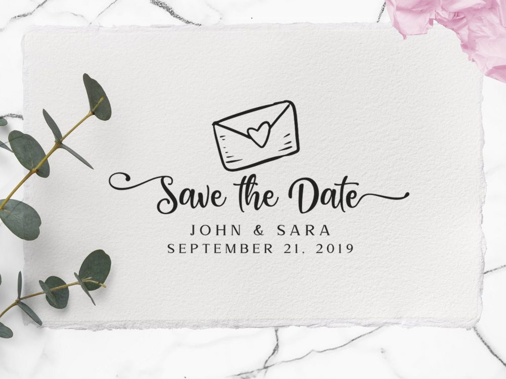 Rustic Save The Date Stamp, Custom Save The Date Wedding Stamps Big