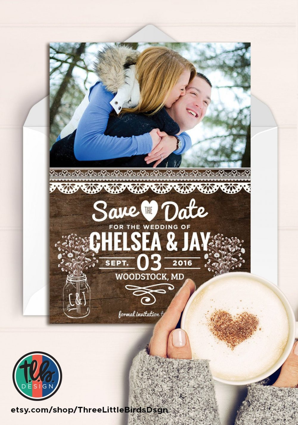 Rustic Save The Date Photo Card Wedding Wood Mason Jars & Babys Breath