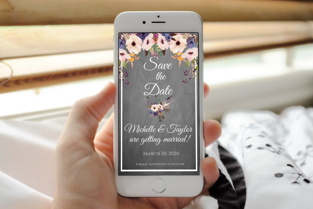 Digital Invitation, Email Electronic Invite, Boho Save The Dates, Chalkboard Date, Save-The-Date, Our