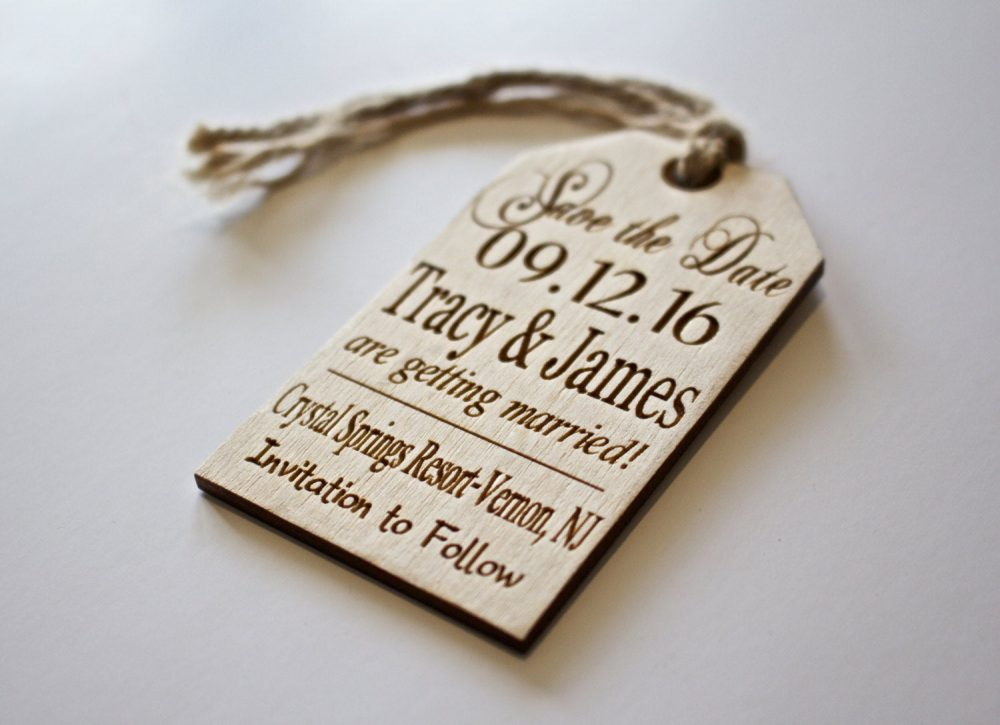 Save The Date, Wood Tag, Custom Engraved, Tag With Twine, Rustic Wedding, Wooden Hang Western