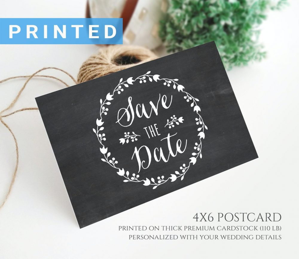 Chalkboard Save The Date Postcard Printed | Rustic Wreath Wedding Postcards Personalized Cards