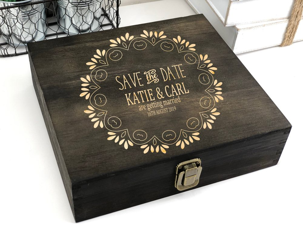 Save The Date Box, Personalized Wooden Keepsake Family Memory Custom Engraved, Photo Wood, Rustic, Wedding Decor