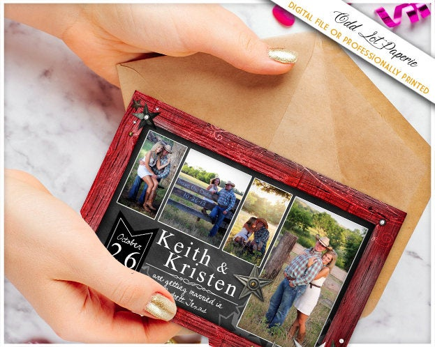 Photo Collage Save The Date Rustic Chalkboard Wedding Announcement Postcard Printed Or Digital Barn Wood Frame Diy