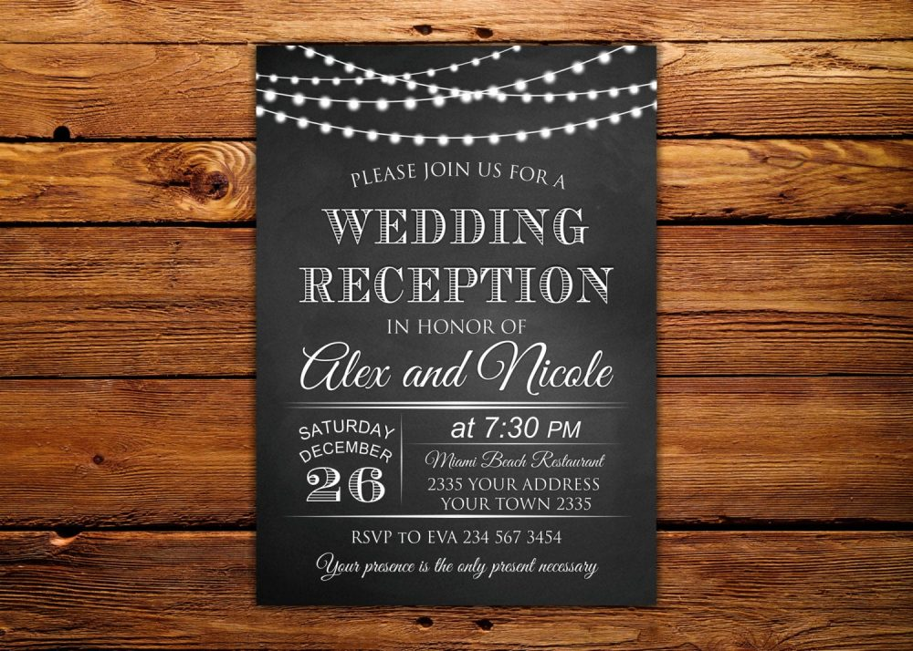 Wedding Reception Invitation. Chalkboard String Lights Rustic