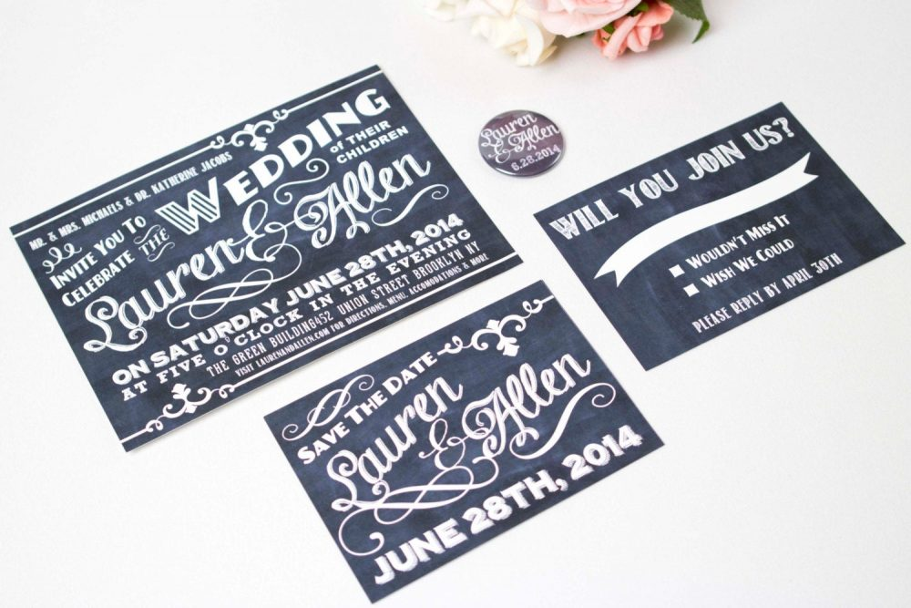 Chalkboard Wedding Invitation Suite, Rustic Wedding, Custom Invite, Country Chic, Hand Drawn, Cafe Sign, Fancy Typography, Barn