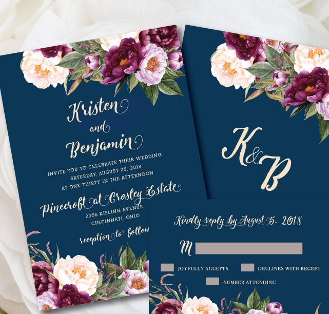 Navy Wedding Invitations, Burgundy Invitation Printed, Floral Wedding, Boho Invitation, Burgundy