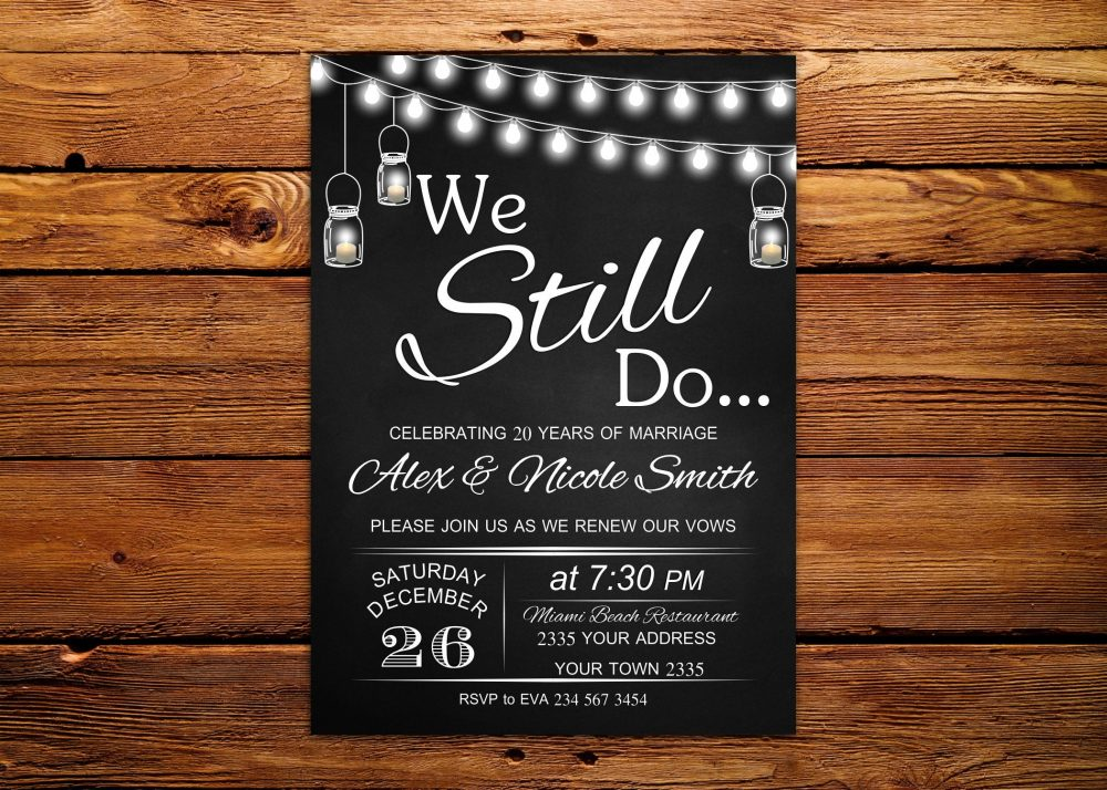 Vow Renewal Invitation. Wedding Anniversary Invitations. We Still Do Invite. Chalkboard. Light Bulb Mason Jar Invitation