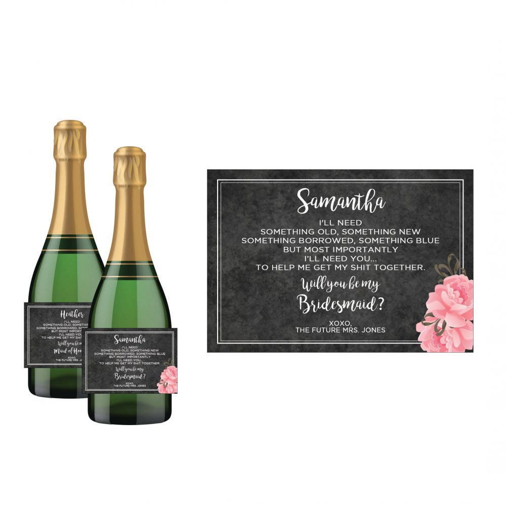 Black Floral Bridesmaid Mini Champagne Bottle Label/Personalized Wedding Party Invite Funny Maid Of Honor Ask Sticker
