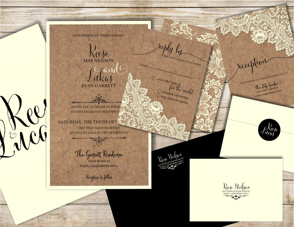 Kraft Paper Wedding Invitations, Rustic Lace Invitation, Country Invitation