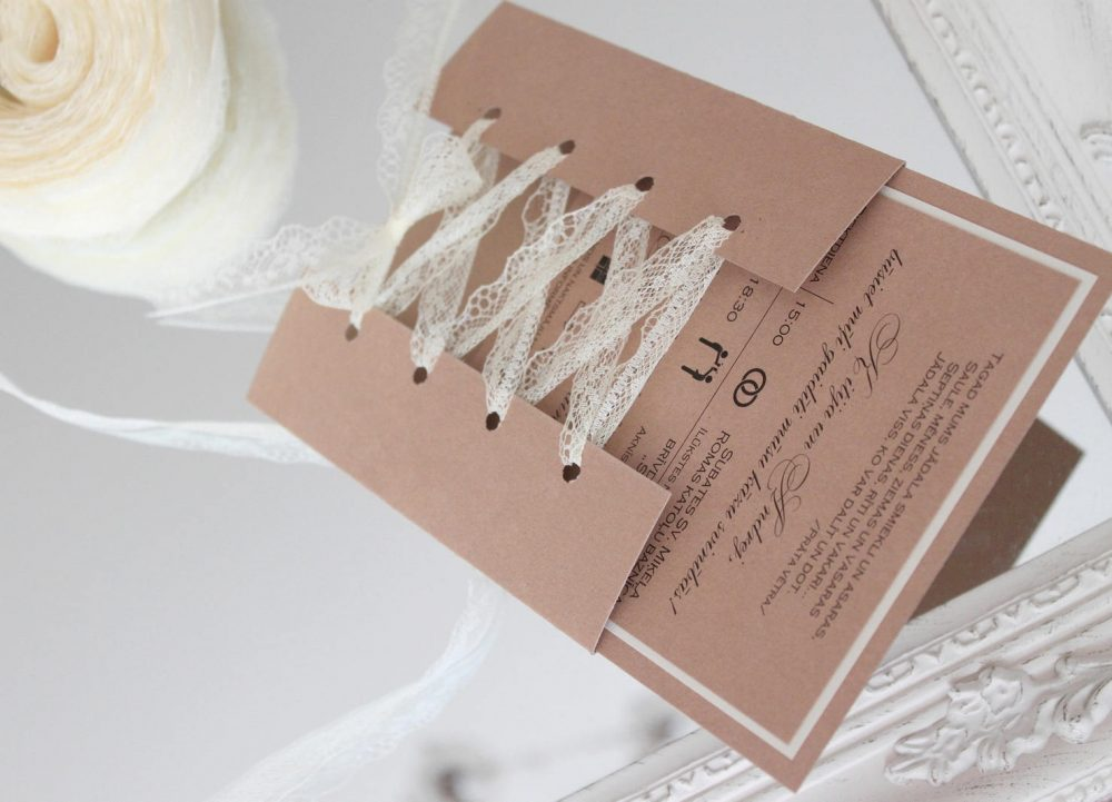 Rustic Wedding Invitations With Lace, Country Invitations, Handmade Kraft Paper Lace