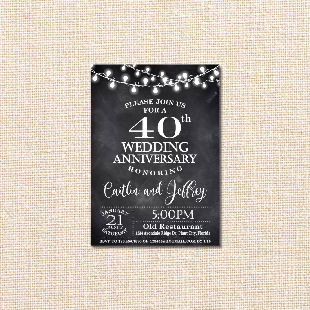 Wedding Anniversary Invitation, 40Th Anniversary, Chalkboard