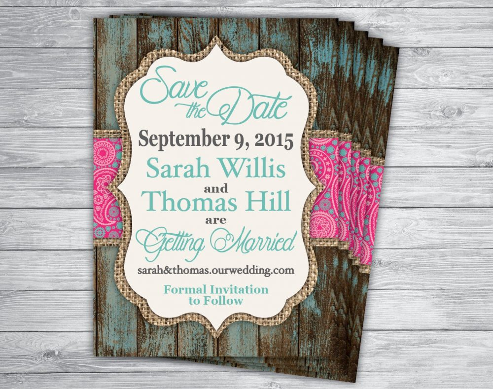 Any Event/Color Wood Wedding Bridal Save The Date Country Vintage Rustic Mint Turquoise Pink Paisley Lace Unique Popular Invitation Printed