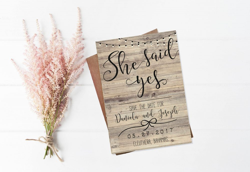 She Said Yes Save The Date Invitations, Burlap & Lace Invitation, Rustic Wood Save Date, Invitations, Wedding Invitation