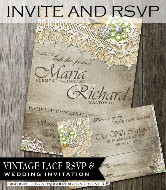 Rustic Wedding Invitation & Rsvp-Diy Wedding Invite, Rsvp With Lace & Vintage Elements Rustic Background, Stationery, Lace