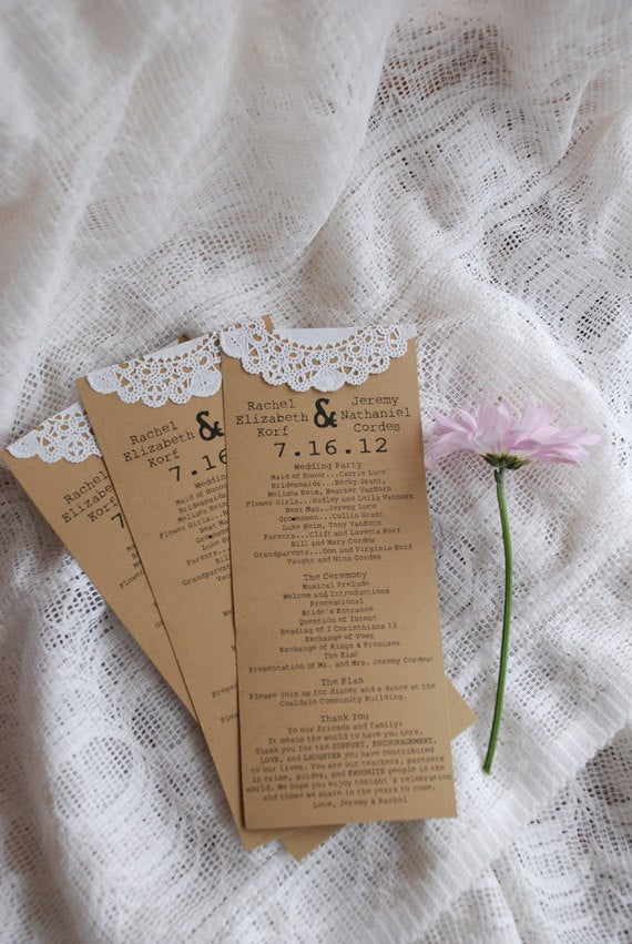 Custom Vintage Lace Doily Wedding Programs Or Menus- Save The Date - Autumn, Fall, Christmas Engagement Party Escort Card
