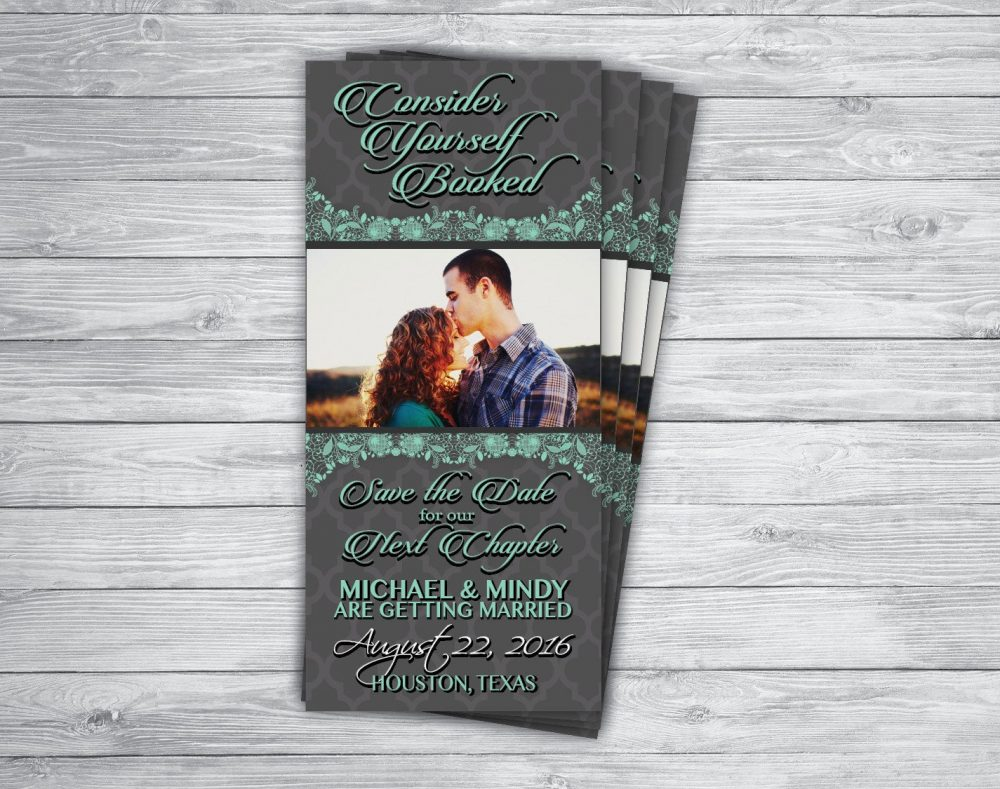 Any Event/Color Bookmark Save The Date Shabby Chic Lace Picture Country Mint Wedding Graduation Engagement Announcement Invitation Printed