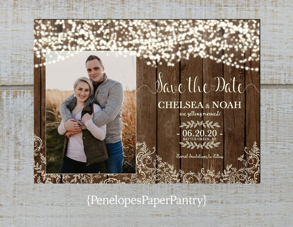 Rustic Fall Save The Date Photo Card, Fairy Lights, Antique Lace, Barn Wood, Barn Wedding, Country Wedding, Personalize, Printed Cards