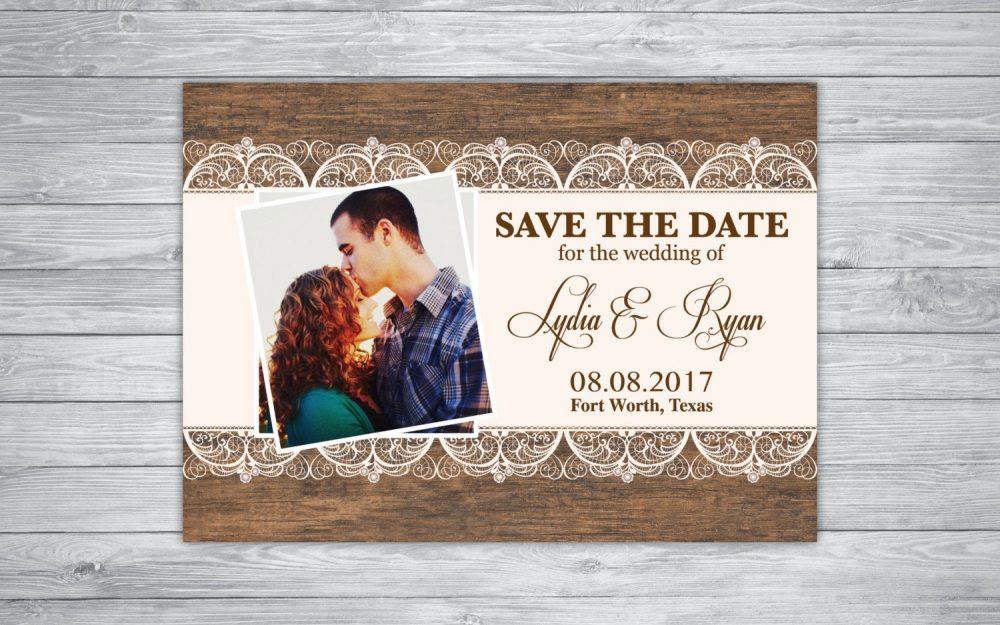 Wedding Invitations Any Event/Color Save The Date Picture Photo Rustic Lace Unique Wood Vintage Country Chic Engagement Graduation