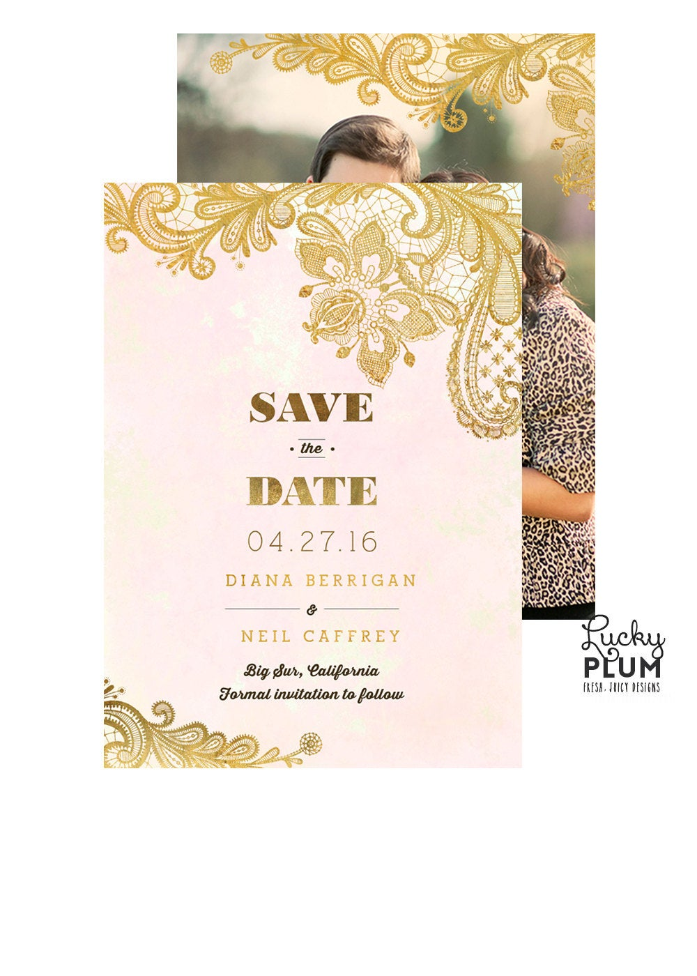 Save The Date Invitation/Lace Rustic Invite Photo Gold