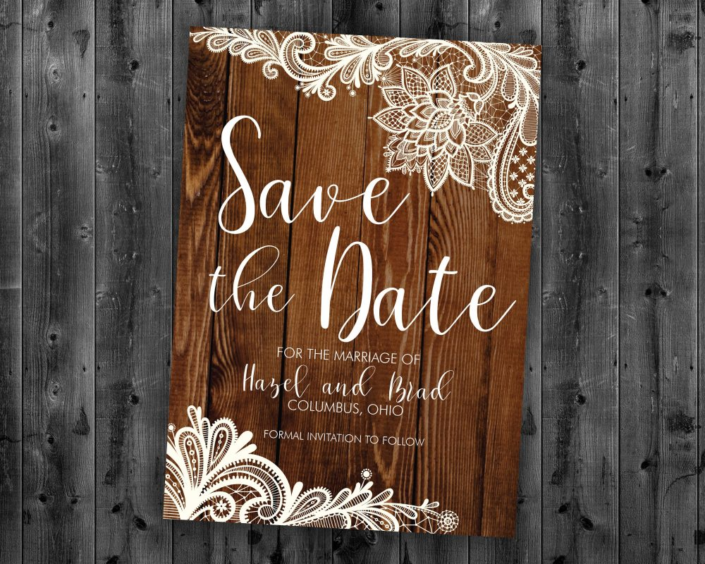 Rustic Lace Save The Date Cards, The Postcard, Wood, Country Date, Engagement Card, Wedding Card