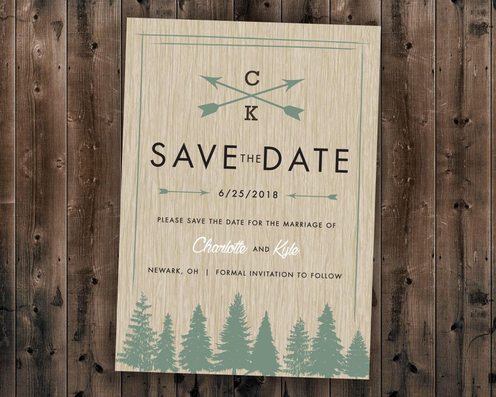 Woods Rustic Tree Save The Date Printed, Country Wedding Invitations, Woods, Outdoors, Affordable, Pine Trees