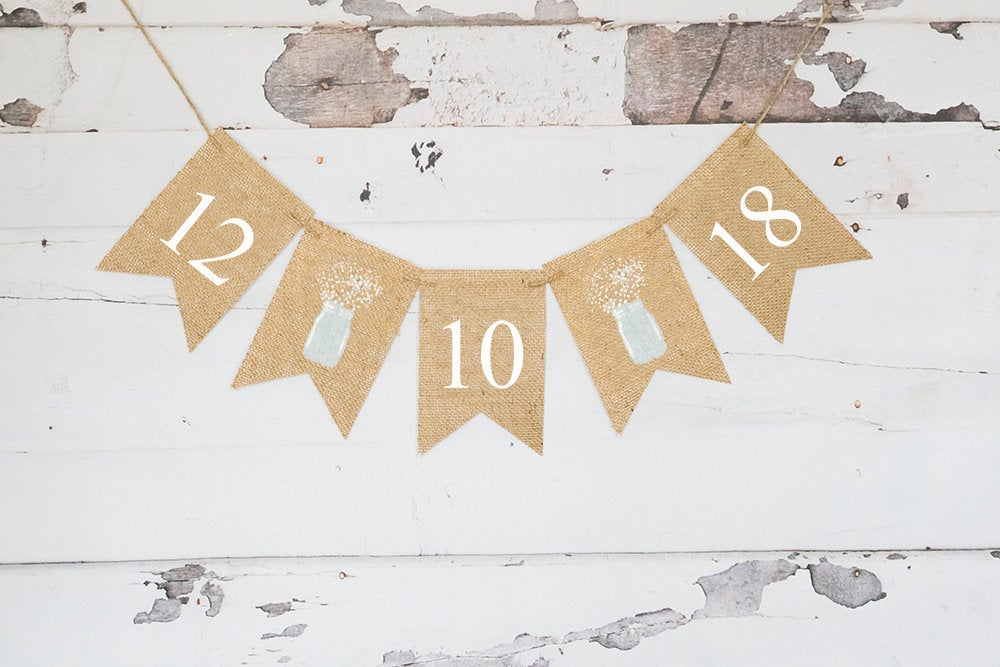 Mason Jar Wedding Decor, Save The Date Banner, Decorations, Decor, Engagement Party Decor B979
