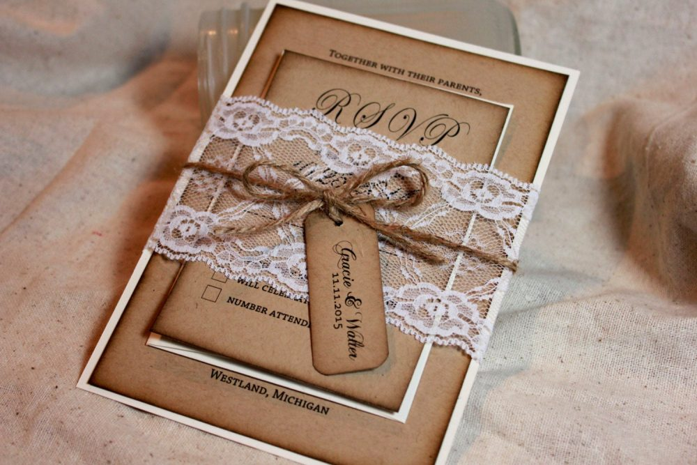 Rustic Wedding Invitations, Lace & Kraft Rustic Wedding Invite, Burlap Lace Wedding, Invitations, Distressed, Invitation