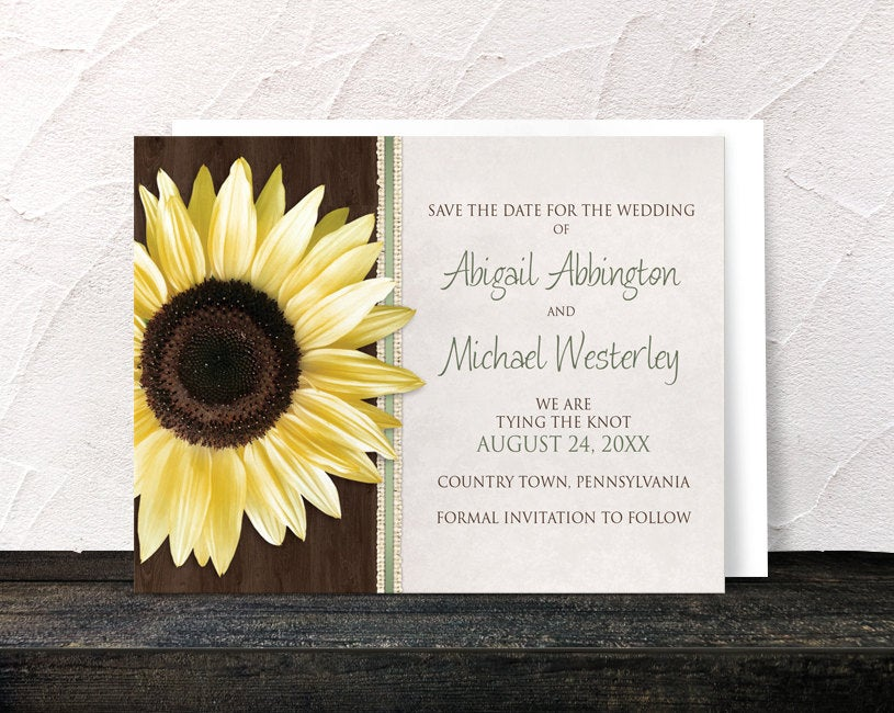 Sunflower Save The Date Cards - Country Wood Brown Green Rustic Printed Flat