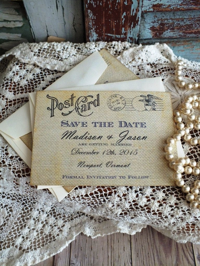 Vintage Postccard Wedding Save The Date Card - Postcard With Burlap Background Anniversary Handmade By Avintageobsession On Etsy