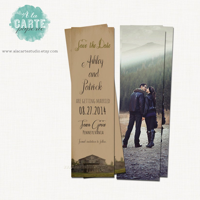 Save The Date Bookmark Vintage Rustic Wedding Save Date Library Wedding Bookmark It Kraft Burlap