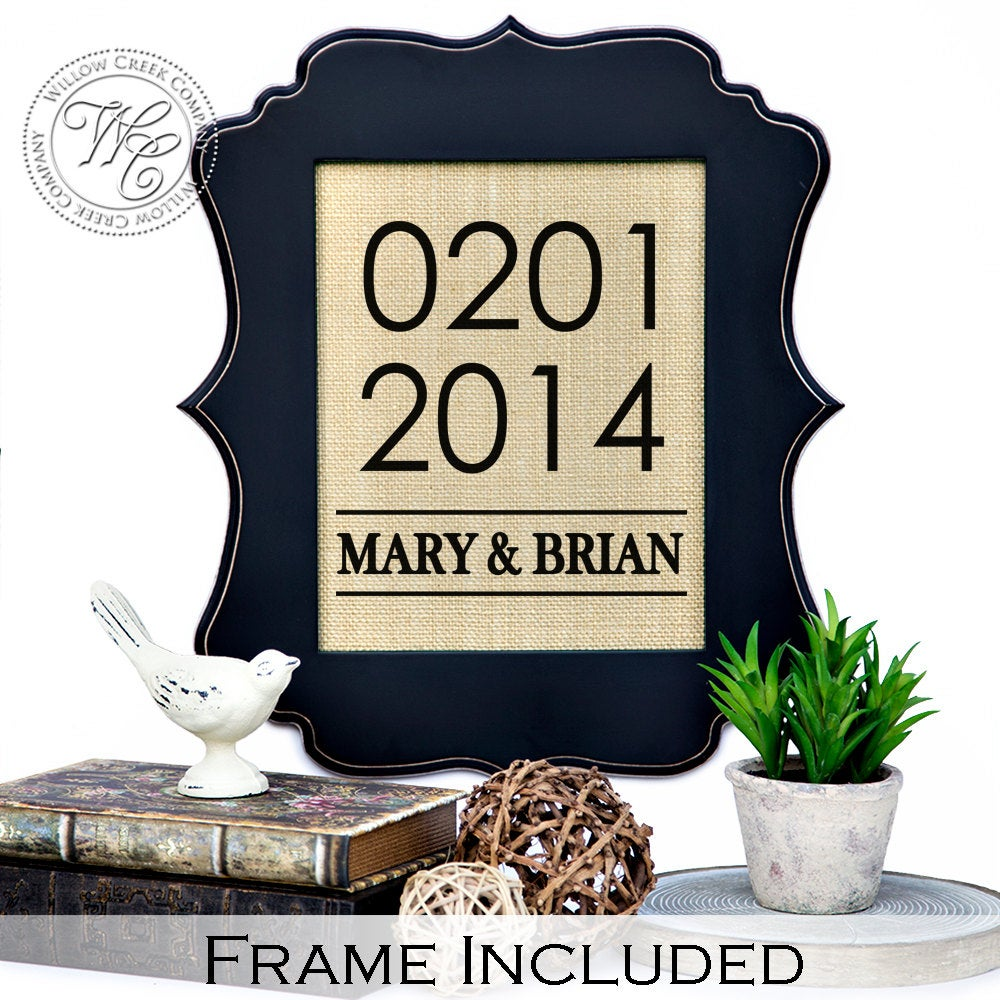 Save The Date Sign, Personalized Wedding Gift Wall Art, Family Name Sign With Couple's Names & Established