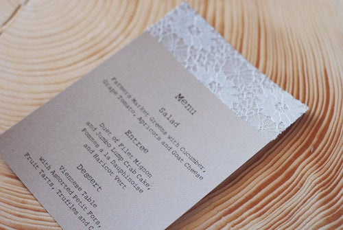 Elegant Handmade Lace Doily Wedding Menus Or Programs - Save The Date Autumn, Fall, Christmas Engagement Party Escort Card
