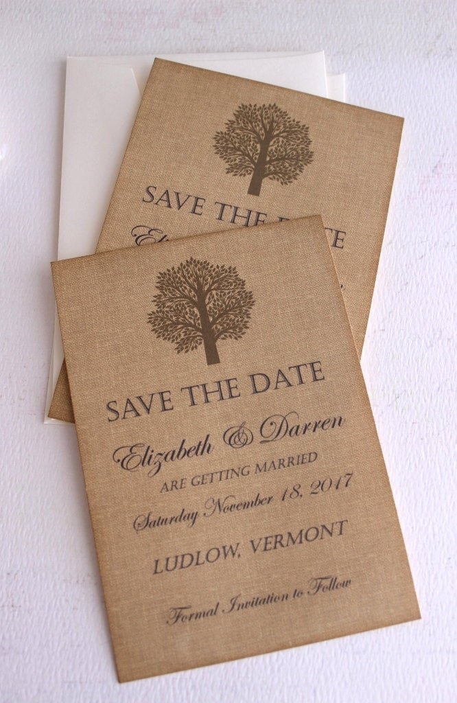 Save The Date Cards With Burlap Background - Vintage Rustic Tree Wedding Handmade By Avintageobsession On Etsy