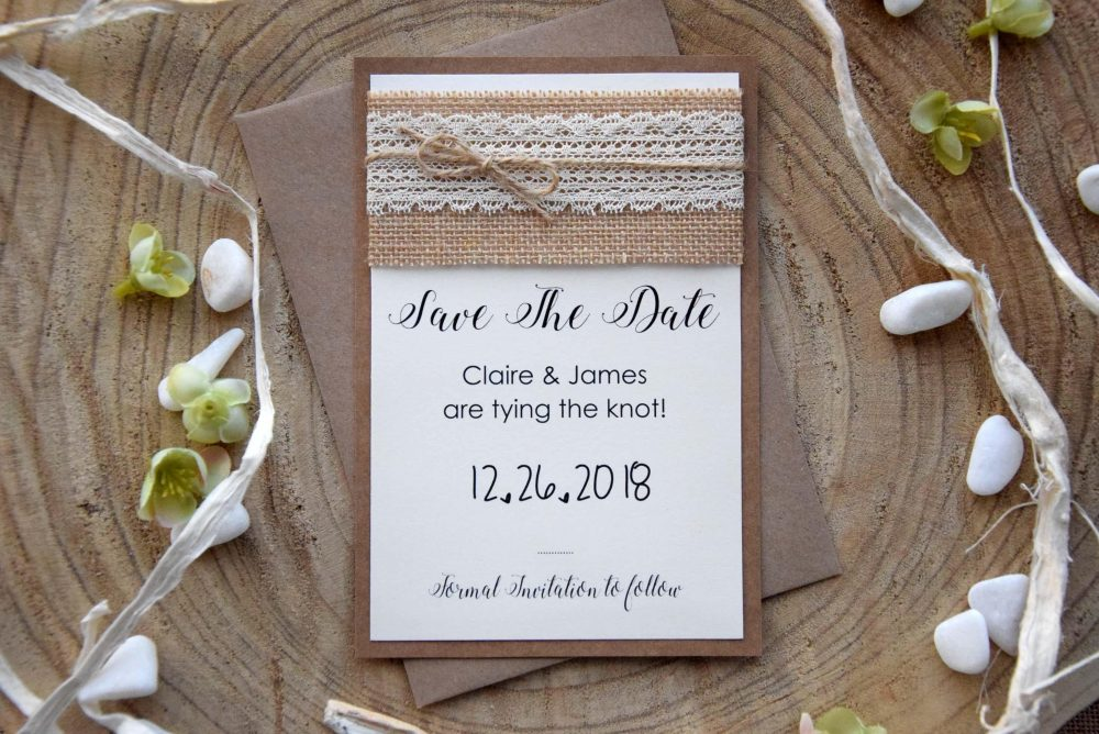 Rustic Fall Save The Dates, Unique Custom Vintage Date Cards, Simple Lace Birthday Wedding Cards