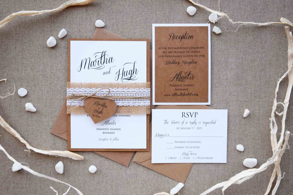Rustic Lace Wedding Invite, Simple Invitation, Custom Personalized Country Invitations