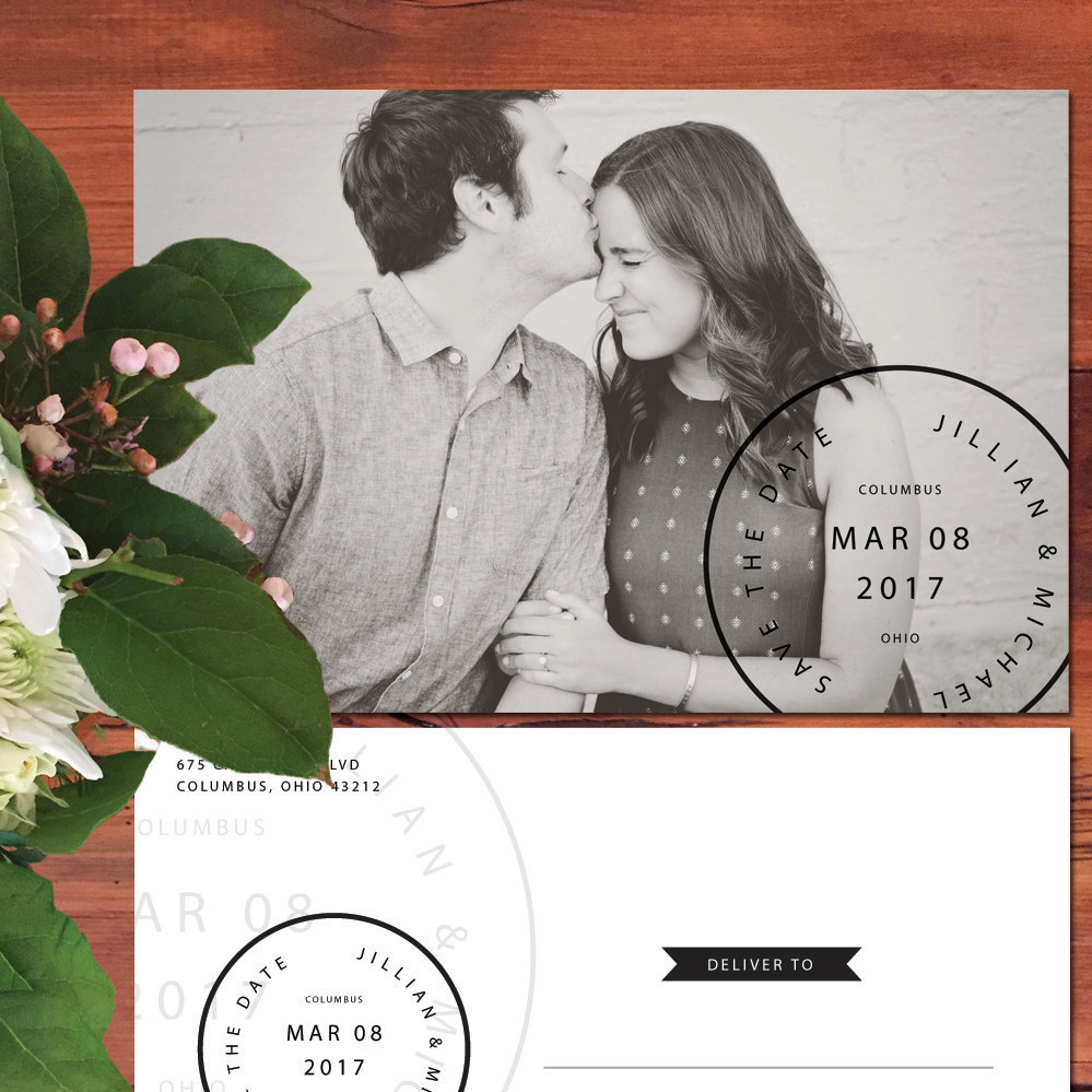 Photo Save The Date Card Black & White Rustic Engagement Cards Vintage Farmhouse Barn Wedding Invitation