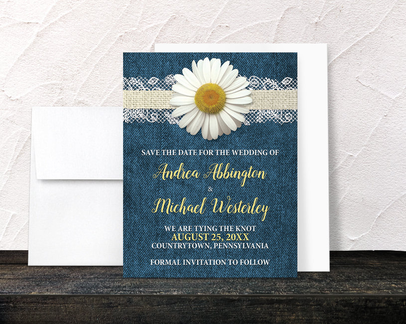 Daisy Save The Date Cards - Burlap Lace Rustic Country Denim Floral Yellow Blue Beige Printed Wedding