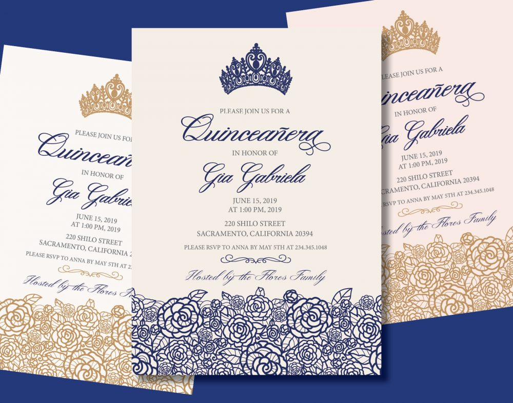 Navy Quinceanera Invitation Save Date Ms Quince Sweet 15 16 Birthday Burgundy Red Pink Rose Gold Shimmer Card Stock Wedding Reception
