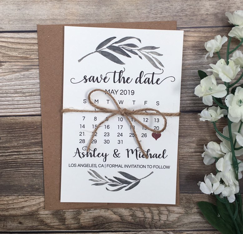 10 Greenery Save The Date Cards, Calendar Card, Rustic Boho Cards