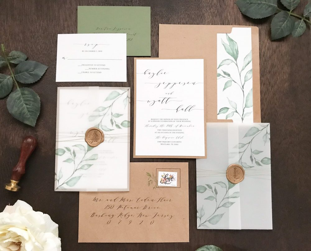Vellum Wedding Invitation Set With Wax Seal & Printed Eucalyptus Greenery, Rustic Elegant Invite, Romantic Modern Calligraphy & Thread Wra