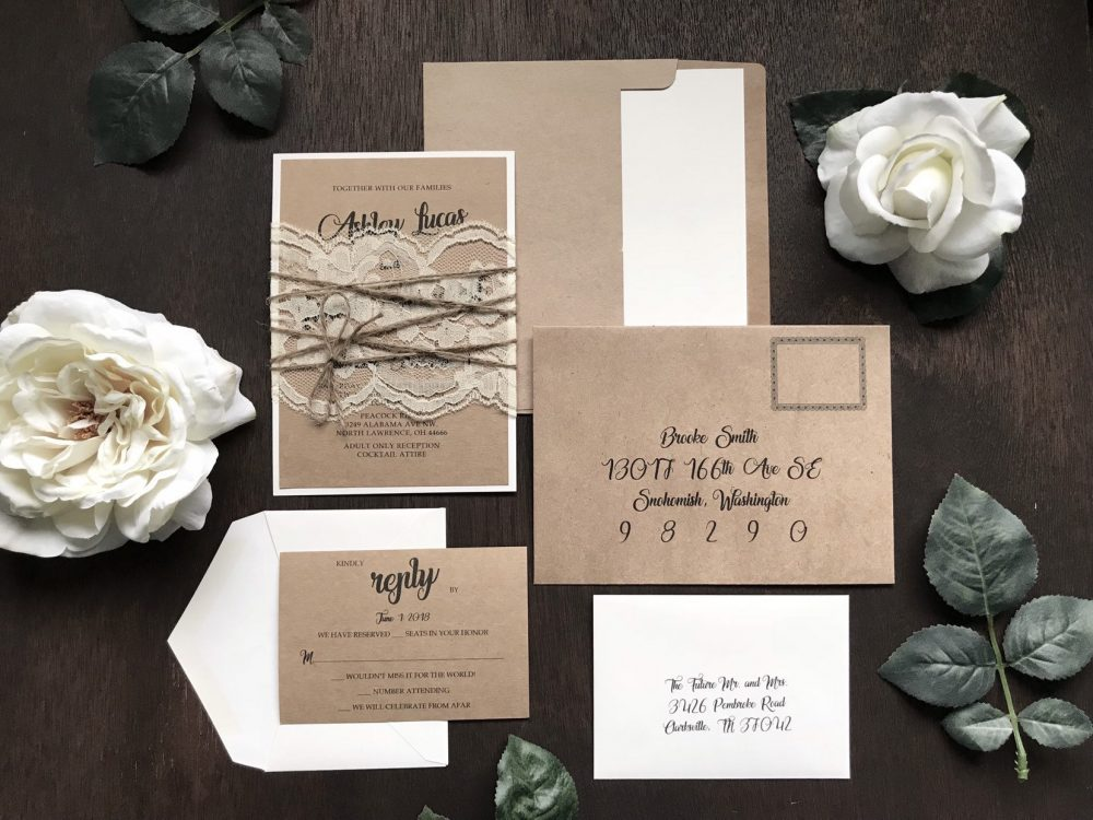 Rustic Elegant Wedding Invitation Set, Invitation, Calligraphy Vintage Lace