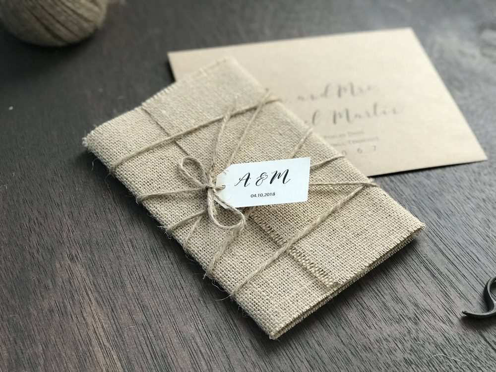 Rustic Wedding Invitation Set, Burlap Invitation, Elegant Vintage Chic